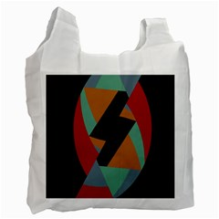 Fractal Design in Red, Soft-Turquoise, Camel on Black Recycle Bag (One Side)