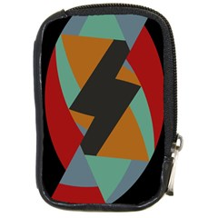Fractal Design in Red, Soft-Turquoise, Camel on Black Compact Camera Cases