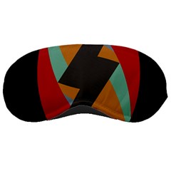 Fractal Design in Red, Soft-Turquoise, Camel on Black Sleeping Masks