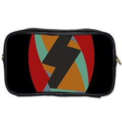 Fractal Design in Red, Soft-Turquoise, Camel on Black Toiletries Bags 2-Side