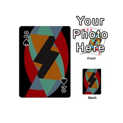 Fractal Design in Red, Soft-Turquoise, Camel on Black Playing Cards 54 (Mini)