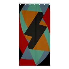 Fractal Design in Red, Soft-Turquoise, Camel on Black Shower Curtain 36  x 72  (Stall)