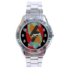 Fractal Design in Red, Soft-Turquoise, Camel on Black Stainless Steel Men s Watch