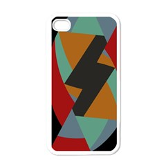 Fractal Design in Red, Soft-Turquoise, Camel on Black Apple iPhone 4 Case (White)