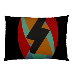 Fractal Design in Red, Soft-Turquoise, Camel on Black Pillow Cases (Two Sides)
