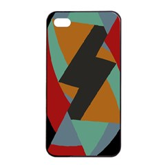 Fractal Design in Red, Soft-Turquoise, Camel on Black Apple iPhone 4/4s Seamless Case (Black)