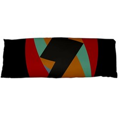 Fractal Design in Red, Soft-Turquoise, Camel on Black Body Pillow Cases (Dakimakura)