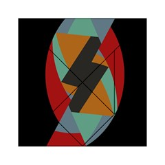 Fractal Design in Red, Soft-Turquoise, Camel on Black Acrylic Tangram Puzzle (6  x 6 )