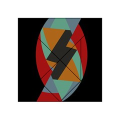 Fractal Design in Red, Soft-Turquoise, Camel on Black Acrylic Tangram Puzzle (4  x 4 )