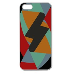 Fractal Design In Red, Soft Turquoise, Camel On Black Apple Seamless Iphone 5 Case (clear)