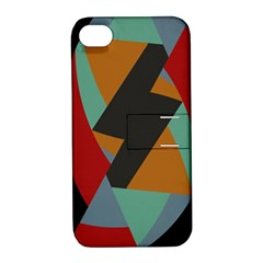 Fractal Design in Red, Soft-Turquoise, Camel on Black Apple iPhone 4/4S Hardshell Case with Stand