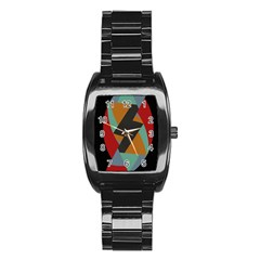 Fractal Design in Red, Soft-Turquoise, Camel on Black Stainless Steel Barrel Watch