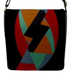 Fractal Design In Red, Soft Turquoise, Camel On Black Flap Messenger Bag (s)