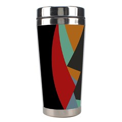 Fractal Design in Red, Soft-Turquoise, Camel on Black Stainless Steel Travel Tumblers