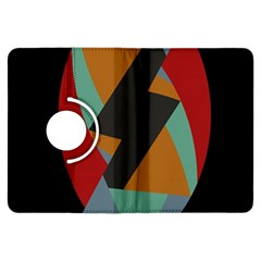 Fractal Design in Red, Soft-Turquoise, Camel on Black Kindle Fire HDX Flip 360 Case