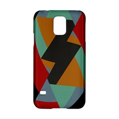 Fractal Design In Red, Soft Turquoise, Camel On Black Samsung Galaxy S5 Hardshell Case