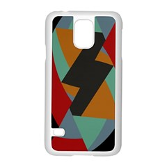 Fractal Design in Red, Soft-Turquoise, Camel on Black Samsung Galaxy S5 Case (White)