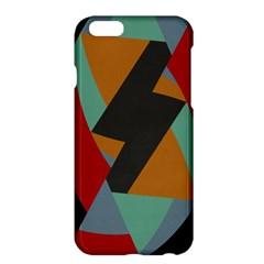 Fractal Design in Red, Soft-Turquoise, Camel on Black Apple iPhone 6/6S Plus Hardshell Case
