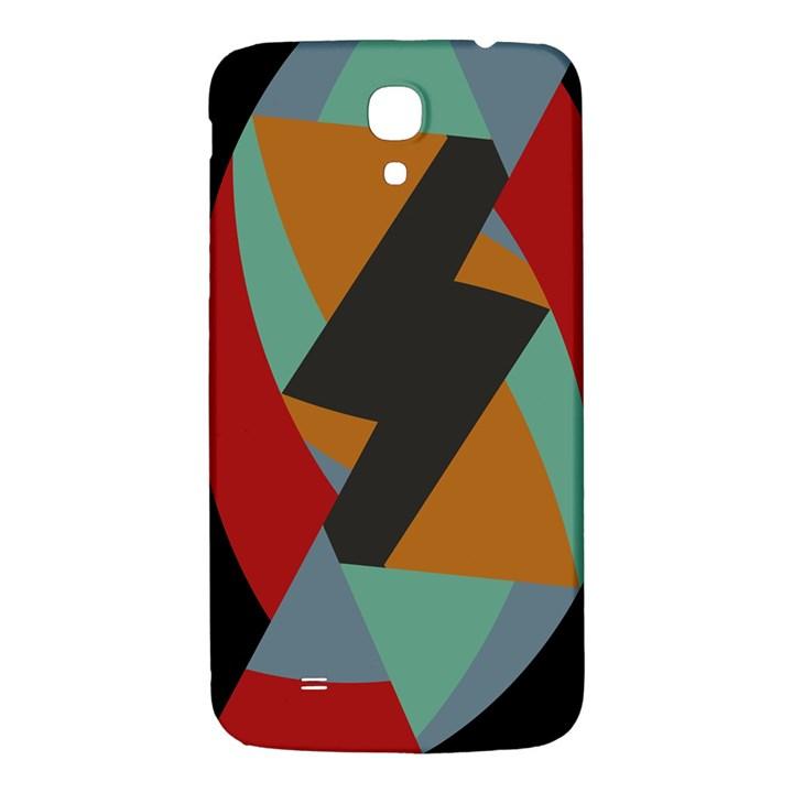 Fractal Design in Red, Soft-Turquoise, Camel on Black Samsung Galaxy Mega I9200 Hardshell Back Case