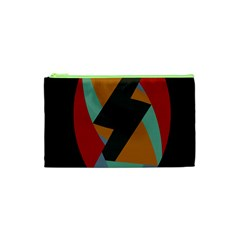 Fractal Design In Red, Soft Turquoise, Camel On Black Cosmetic Bag (xs)