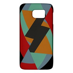 Fractal Design in Red, Soft-Turquoise, Camel on Black Galaxy S6