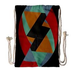 Fractal Design in Red, Soft-Turquoise, Camel on Black Drawstring Bag (Large)