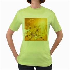 Wonderful Flowers With Butterflies Women s Green T-Shirt
