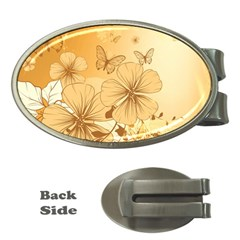 Wonderful Flowers With Butterflies Money Clips (Oval)