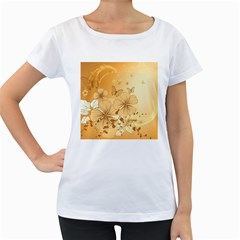 Wonderful Flowers With Butterflies Women s Loose Fit T Shirt (white)