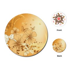 Wonderful Flowers With Butterflies Playing Cards (Round)