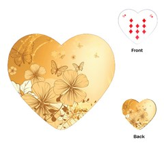 Wonderful Flowers With Butterflies Playing Cards (heart)