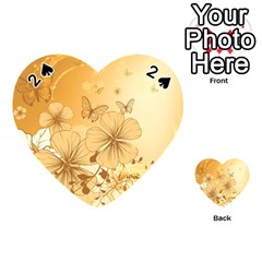 Wonderful Flowers With Butterflies Playing Cards 54 (Heart)