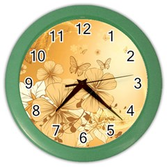 Wonderful Flowers With Butterflies Color Wall Clocks