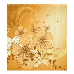 Wonderful Flowers With Butterflies Shower Curtain 66  x 72  (Large)