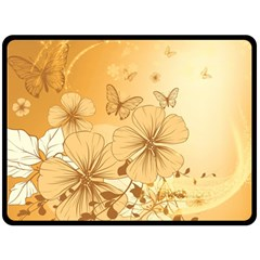 Wonderful Flowers With Butterflies Fleece Blanket (Large)