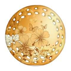 Wonderful Flowers With Butterflies Round Filigree Ornament (2side)
