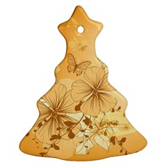 Wonderful Flowers With Butterflies Christmas Tree Ornament (2 Sides)