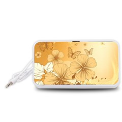 Wonderful Flowers With Butterflies Portable Speaker (White)