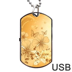 Wonderful Flowers With Butterflies Dog Tag Usb Flash (two Sides)