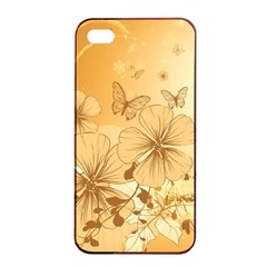 Wonderful Flowers With Butterflies Apple iPhone 4/4s Seamless Case (Black)