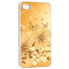 Wonderful Flowers With Butterflies Apple iPhone 4/4s Seamless Case (White)