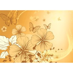 Wonderful Flowers With Butterflies Birthday Cake 3d Greeting Card (7x5)