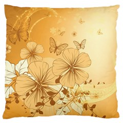 Wonderful Flowers With Butterflies Large Cushion Cases (One Side)