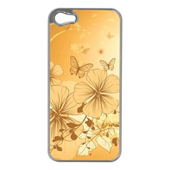 Wonderful Flowers With Butterflies Apple iPhone 5 Case (Silver)