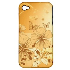 Wonderful Flowers With Butterflies Apple iPhone 4/4S Hardshell Case (PC+Silicone)