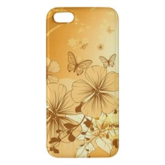 Wonderful Flowers With Butterflies Apple iPhone 5 Premium Hardshell Case