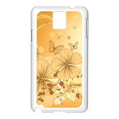 Wonderful Flowers With Butterflies Samsung Galaxy Note 3 N9005 Case (White)
