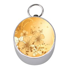 Wonderful Flowers With Butterflies Mini Silver Compasses
