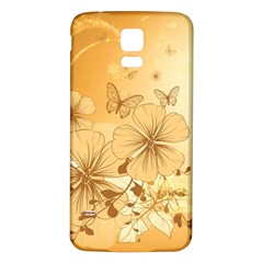 Wonderful Flowers With Butterflies Samsung Galaxy S5 Back Case (White)