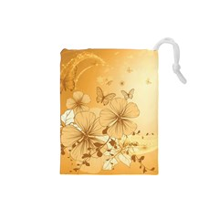 Wonderful Flowers With Butterflies Drawstring Pouches (small)